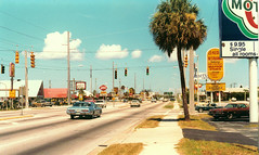 Cocoa Beach North Atlantic Avenue 1979 (Beardy Vulcan) Tags: street usa unitedstates florida motel american palmtree 20thcentury 1979 cocoabeach fastfoodrestaurants maindrag pompomtree northatlanticavenue