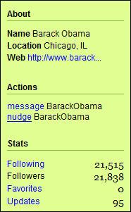 Barack Obama's Twitter Information