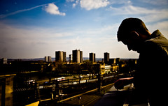 Euan (TGKW) Tags: city boy portrait sky people man sunshine silhouette skyline clouds cityscape afternoon glasgow euan