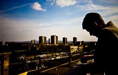 Euan (TGKW) Tags: city boy portrait sky people man sunshine silhouette skyline clouds cityscape afternoon glasgow euan