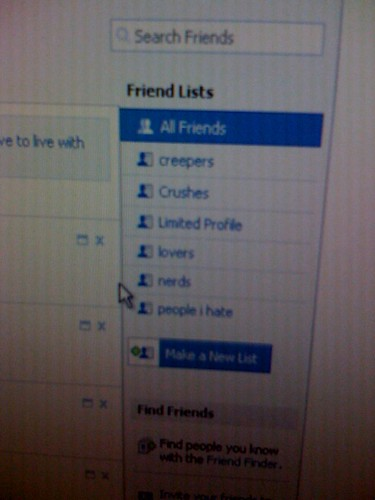Facebook friends list template