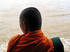 [v.2] (shadowplay) Tags: orange composition river thailand boat bangkok monk buddhism railing chaophraya