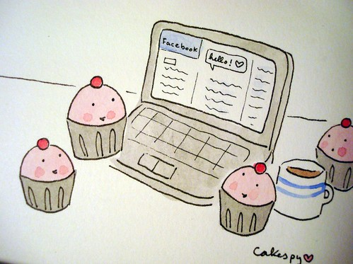 Cupcakes checking their Facebook
