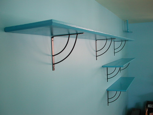 Three Blue Shelves