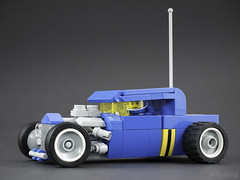 Retro Pick-Up Rover (billyburg) Tags: classic space febrovery blue hot rod pickup truck low rider benny lego movie whitewall tyres gangsta bumblebee stripes