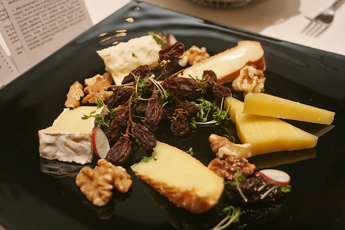 Cheese platter - five types of cheese, red grape mustard and dried grapes