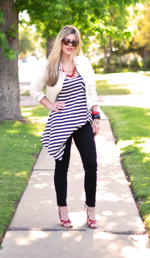 black and white and red outfit