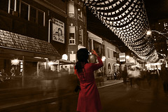 the photographer (serhio) Tags: photographer noite de so joo night saint john laura belm brazil brasil nuit blanche 2007 white black dark red coat woman brazilian street festival ghosts shadows blur motion movement sepia pilot flags sky stars light cumberland avenue yorkville toronto ontario canada canon eos digital rebel xti 400d explore serhio sergei yahchybekov