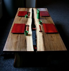 Asian Inspired Table with Sushi & Sake Set (withthegrain) Tags: sushi table furniture walnut exhibit sake handcrafted dining coffeetable woodworking sakeset woodworkers helenamontana placesettings sushiset helenawoodworkersguild artofwood 3rdannualexhibit