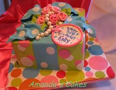 Kelly's 30th Birthday (mandotts) Tags: birthday pink blue green bright teal pearls 30th bold gifttag presentcake giftcake ribbonroses 30thbirthdaycake fondantribbon alledilble