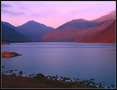 Wastwater Sunset (ShinyPhotoScotland) Tags: pink blue light sunset red sky sunlight lake mountains film nature water landscape saturated colours vibrant lakedistrict wastwater greatgable shenhao naturewatcher illgillhill