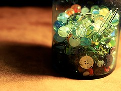 Mixture (* andrea .) Tags: old glass ball rebel 50mm colorful buttons mason jar marbles