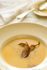 butternut bisque (mwhammer) Tags: autumn food white color texture yellow soup soft display sweet bisque fresh explore nostalgic savory melina butternut comforting propstyling pureed foodstyling carmelizedpears