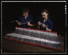 "Capping and inspecting tubing: two women are shown capping and inspecting tubing which goes into the manufacture of the ""Vengeance"" dive bomber made at Vultee's Nashville division, Tennessee. The ""Vengeance"" (A-31) was originally designed for the French. (The Library of Congress) Tags: woman industry plane vintage airplane glasses women war nashville tennessee aviation military inspection wwii pipes slidefilm busy worldwarii 1940s transparency ww2 4x5 lf libraryofcongress february bomber tubing largeformat worldwar2 1943 a31 wartime transparencies capping vengeance manufacturing nashvilletn divebomber workforce vultee historicalphotographs february1943 davidsoncounty wareffort xmlns:dc=httppurlorgdcelements11 dc:identifier=httphdllocgovlocpnpfsac1a35372 alfredtpalmer vulteeaircraftincorporated alfredpalmer womensqa vulteeaircraftcorporation vulteeaircraft vulteevengeance"