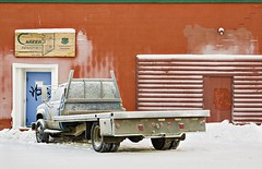 Flatbed (eyebex) Tags: door wood winter red white snow green chevrolet wall truck graffiti frost saveme saveme3 deleteme10 delete7 pickup chevy transportation sigh products save10 savedbythedeltemeuncensoredgroup challenge whitehorse flatbed 3500 save11 carrerindustries