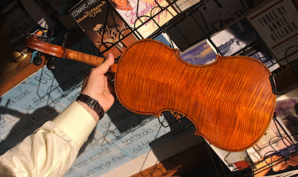 The back of Jose's violin
