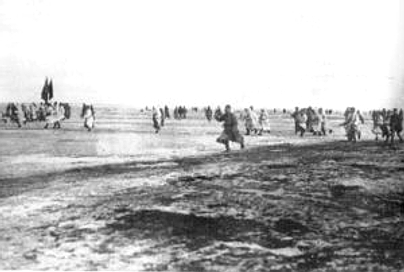 Red Army forces attacking the naval fortress of Kronstadt in 1921