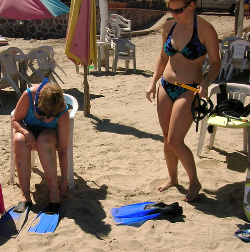Ready to snorkel - Ruth & Jen