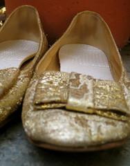 vintage gold brocade flats w bows.