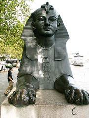 A guardian of the Nile guards the Thames (Whiskers and Whispers (The Future is Feline)) Tags: london statue sphinx thames egyptian obelisk embankment