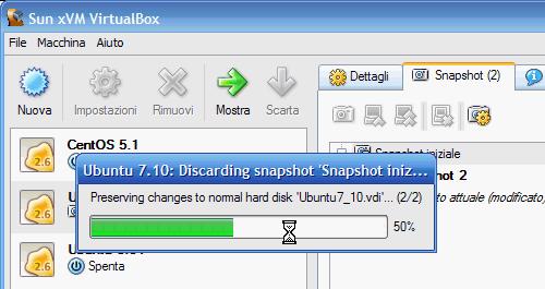 Fig 21 - VirtualBox snapshot - fusione dello snapshot scartato con disco rigido normale