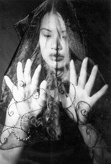 Veil (shaire productions) Tags: portrait blackandwhite woman classic film girl monochrome lady youth asian person photography design clothing pattern cambodian veil lace traditional chinese young monochromatic photograph thai article mysterious designs sensational curious spiritual curiosity productions sherrie apparel beadwork sherriethai shaire shaireproductions