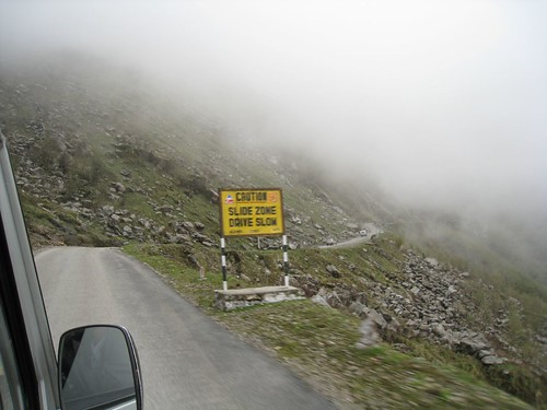Passing landslides and clouds as we head up to Tsomgo Lake