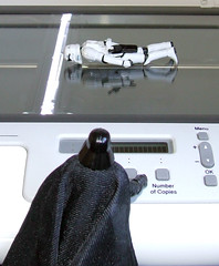 Vader's new cloning technique. (waihey) Tags: reflection starwars flickr buttons cloning scan stormtrooper photocopy darthvader clone copy screening hasbro copies facedown