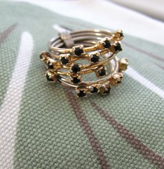 Vintage stacking ring with black rhinestones (MySoCalledVintage) Tags: fashion stone vintage gold costume jewelry retro ring cocktail 1950s 1960s etsy mysocalledvintage
