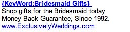 PPC Ad #2 - Bridesmaid Gifts