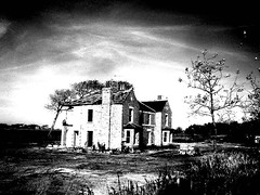 abandoned house in the country - west lancashire - england (~ paddypix ~) Tags: blackandwhite photoshop buildings decay picasa doorsandwindows specialeffects moodyblues bwdreams ukandireland iusedpicasa scenicsnotjustlandscapes