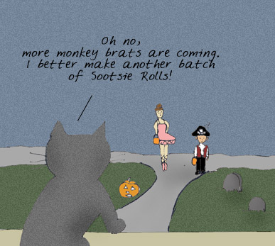 Soot sees more kids trick-or-treating and decides to make more sootsie rolls.