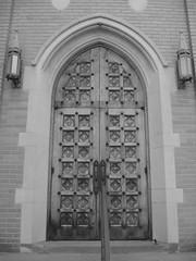 Doorway into St. Brigids - B&W (Michakewa_Lady) Tags: architecture churches oldbuildings entrances