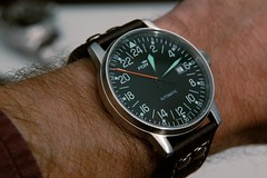 Fortis Flieger 24H (cnmark) Tags: macro up leather closeup buffalo rivets close shot watch band explore automatic strap wrist buckle eta folding uhr 24h taikonaut fortis flieger armbanduhr explored allrightsreserved riveted 28932 wristshot eta28932