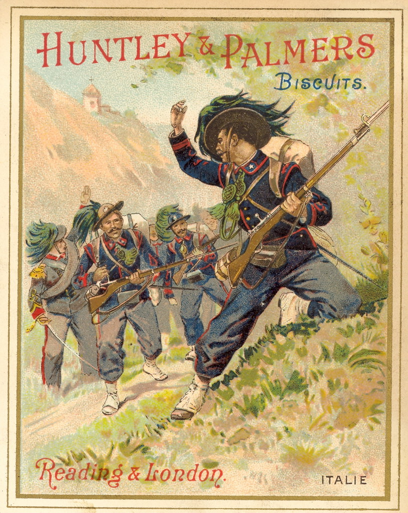 1890s Huntley & Palmers Biscuits French Advertising Leaflet - Italie (Italy - Infantry)