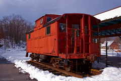 Railway Car (Afulki) Tags: railroad red usa snow ny newyork ice nature beautiful train nikon carriage d70s roadtrip highland railcar railtrail afulki ilovemypic newpaltztrip