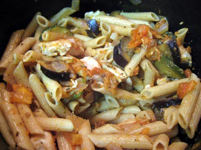 The pasta with the veggies and chicken