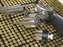 S&W 686 .357 Magnum (itwuzcryptic) Tags: shells macro speed gun steel pistol guns shooting bullet primer revolver loader handgun bullets ammo ammunition stainless magnum remington 357 projectile primers hollowpoint