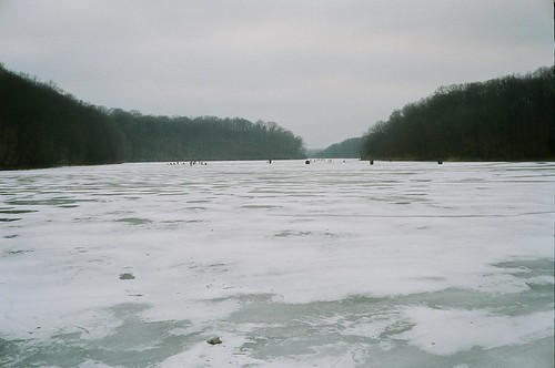 Frozen Lake Griffy, with people walking/skating on it