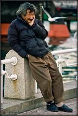 """Have you seen the old man....?"" (nikuyakun) Tags: bird japan seagull homeless oldman yokohama kanagawa yokohamaharbour pentaxk100d tokyoflickrphotosession tokyoflickrmeet260108 yamaishitakoen smcpentaxm135mm135"