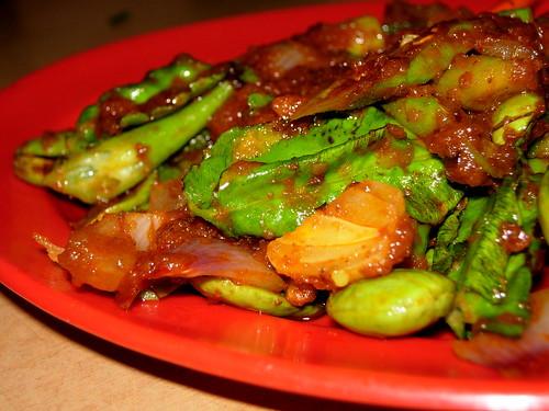 sambal petai, asparagus and beans