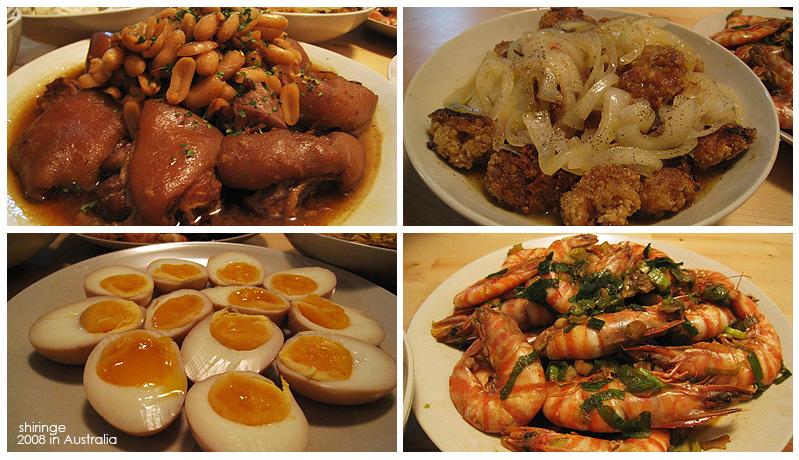年菜之一:花生豬腳,橙汁雞塊, 糖心滷蛋, 蔥爆大蝦