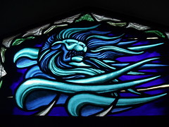 Winged Lion (Aidan McRae Thomson) Tags: windows church glass contemporary lion chapel stainedglass stained end stannes nuneaton evangelist chapelend aidanmcraethomson