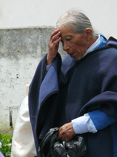 Indigenous elder prays