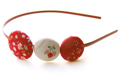 Flowery Red Buttons Headband