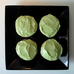black sesame cupcakes with matcha icing