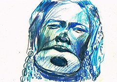 MUJERES DE COLOR (GARGABLE) Tags: angelbeltrán apuntes sketch drawings dibujos gargable azul mursi
