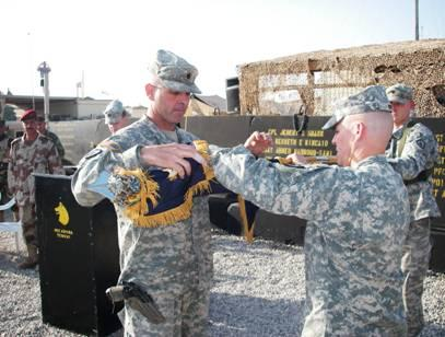 Drew exchanging the colors at FOB McHenry