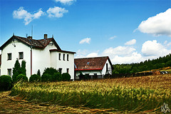 Czech Farm (i ea sars) Tags: trees summer vacation sky house home architecture clouds forest buildings 50mm interestingness interesting corn europa europe republic czech prague farm wheat edificio harvest praga tschechien explore fields czechrepublic barak crops canon5d organic architettura architectura dum republicacheca tsjechi canonef50mmf14usm architektura  canoneos5d repubblicaceca  eskarepublika eskrepublika budova aplusphoto gmofree sansogm  gentechnikfrei larpubliquetchque csehkztrsasg