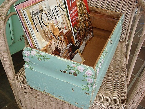 vintage box with chippy paint